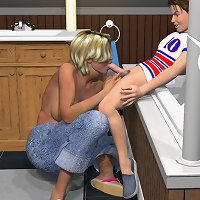 Fascinating incest 3d pictures with blonde caressing her son's dick