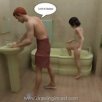 Perverted 3D series with a teen girl done by her father in bathroom