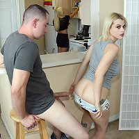 Teen hottie gave her step brother a blowjob and she gets banged hard in the kitchen